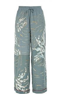 Шелковые брюки в пижамном стиле с цветочной вышивкой Valentino