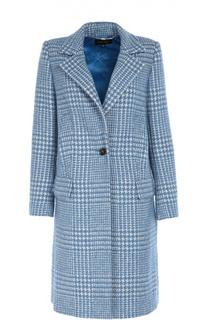 Шерстяное пальто прямого кроя с принтом гусиная лапка Escada