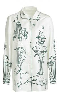 Шелковая блуза в пижамном стиле с контрастным принтом Dolce & Gabbana