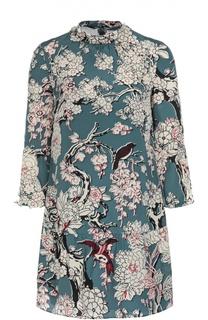 Шелковое мини-платье с цветочным принтом и укороченным рукавом Valentino