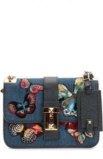 Сумка B-Rockstud из денима с вышивкой в виде бабочек Valentino
