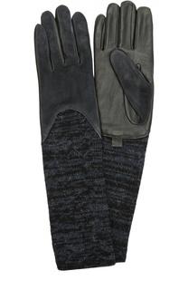 Кожаные перчатки с отделкой из замши и вязаными манжетами Agnelle
