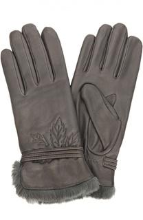 Кожаные перчатки с отделкой из меха кролика Agnelle