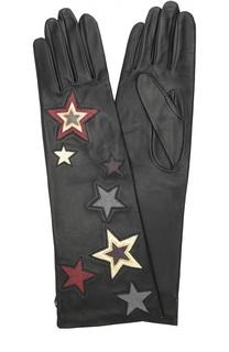 Удлиненные кожаные перчатки с аппликацией Agnelle