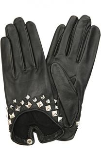 Кожаные перчатки с заклепками Agnelle