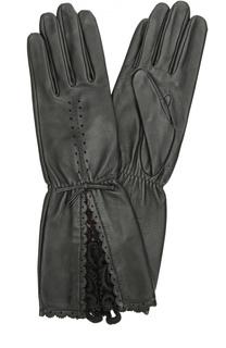Кожаные перчатки с кружевной отделкой Agnelle