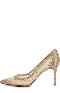 Замшевые туфли с кристаллами Swarovski Gianvito Rossi