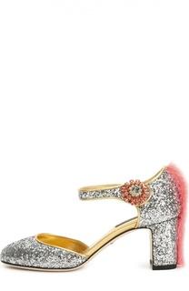 Туфли Vally с глиттером с меховой отделкой Dolce & Gabbana