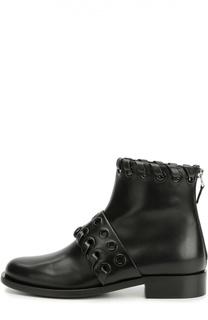Кожаные ботинки с ремешками и люверсами Fendi