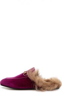 Бархатные сабо Princetown с меховой отделкой Gucci