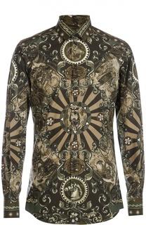Хлопковая рубашка с принтом Carretto Siciliano Dolce & Gabbana