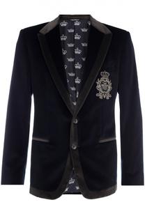 Бархатный пиджак с заостренными лацканами и нашивкой Dolce & Gabbana