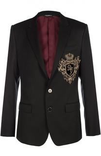 Шерстяной пиджак с вышивкой канителью Dolce & Gabbana