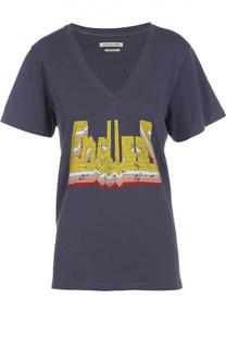 Хлопковая футболка с V-образным вырезом и ярким принтом Isabel Marant Etoile