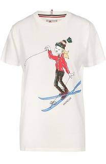 Хлопковая футболка прямого кроя с ярким принтом Moncler