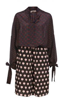 Приталенное платье-рубашка с воротником-аскот Lanvin
