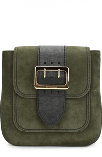 Замшевая сумка Buckle с отделкой из кожи и клетчатого текстиля Burberry Prorsum