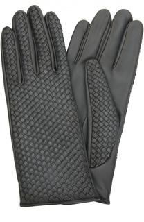 Кожаные перчатки с плетением Agnelle