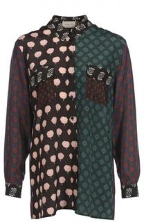 Шелковая блуза свободного кроя с накладными карманами Lanvin