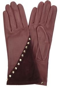 Кожаные перчатки с отделкой из замши и заклепками Agnelle