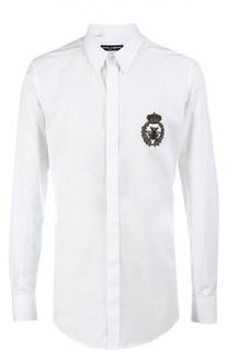 Хлопковая сорочка с нашивкой Dolce & Gabbana