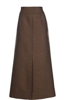 Шерстяная юбка-макси на молнии с высоким разрезом Lanvin