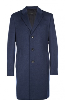 Шерстяное однобортное пальто BOSS