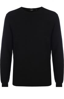 Джемпер фактурной вязки из смеси шерсти и хлопка BOSS