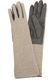 Кожаные перчатки с отделкой из вязаного полотна Sermoneta Gloves