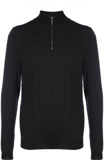 Шерстяной свитер тонкой вязки с воротником на молнии BOSS