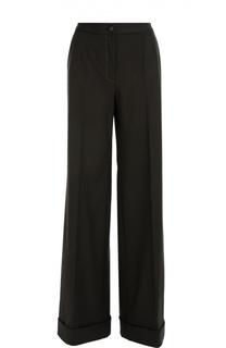 Шерстяные широкие брюки с контрастной прострочкой Dolce & Gabbana