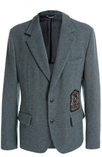 Шерстяной однобортный пиджак с нашивкой Dolce & Gabbana