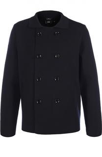 Двубортный шерстяной пиджак фактурной вязки BOSS