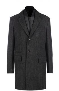 Шерстяное однобортное пальто с подстежкой BOSS