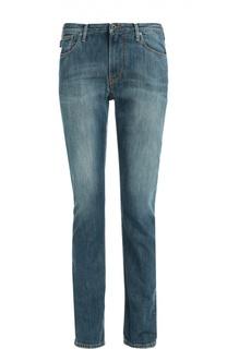 Зауженные джинсы с потертостями и контрастной отстрочкой Armani Jeans