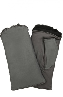 Кожаные перчатки без пальцев с подкладкой из меха кролика Agnelle