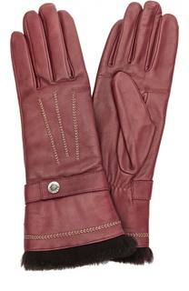 Кожаные перчатки с отделкой из меха кролика и декоративной прострочкой Agnelle
