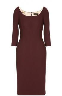 Платье-футляр с укороченным рукавом и вырезом-лодочка Dolce & Gabbana
