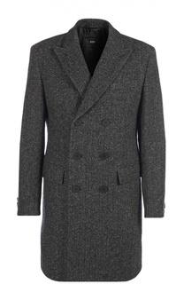 Шерстяное двубортное пальто с узором BOSS
