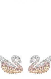 Двусторонние серьги-пусеты Iconic Swan Swarovski