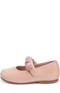 Замшевые туфли с цветочной аппликацией Clarys