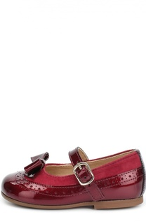 Лаковые туфли с бантом и замшевой отделкой Clarys