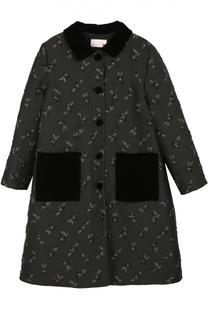 Пальто с принтом и накладными карманами Lanvin