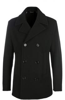 Шерстяное двубортное пальто BOSS