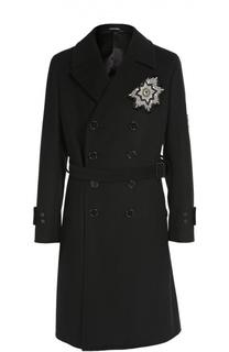 Двубортное пальто из смеси шерсти и кашемира с нашивками Alexander McQueen