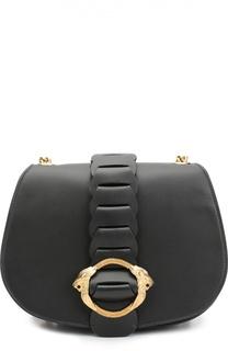 Кожаная сумка на цепочке с металлической пряжкой Roberto Cavalli