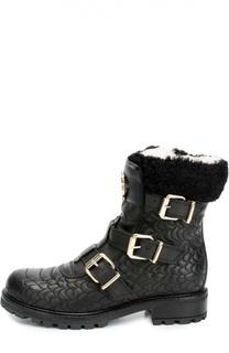 Кожаные ботинки с прострочкой и ремешками Roberto Cavalli