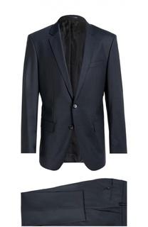 Шерстяной приталенный костюм-тройка BOSS