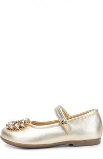Туфли из металлизированной кожи с брошью Missouri