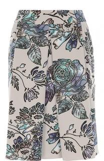 Мини-юбка со складками и цветочным принтом Armani Collezioni